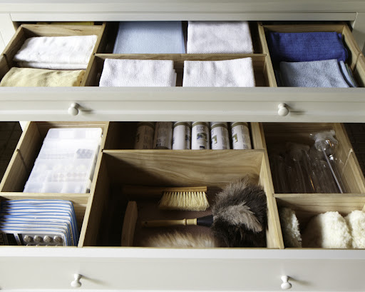 The drawers of the flat file are perfect for holding cleaning cloths and other cleaning essentials.  You can't tell from this image but what's great about these drawers is that they fully extend, meaning the entire drawer pulls out completely so there's no need to reach into the back.