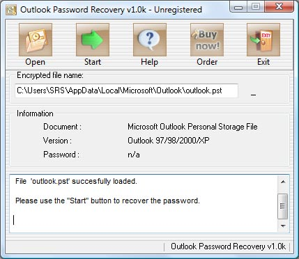 Outlook Password Recovery ajuda a Recuperar a Senha esquecida do Outlook