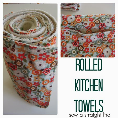rolled kitchen towels sew a straight line