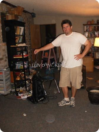 Husband holding Vacuum