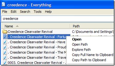 Everything gestire file trovati con il menu del tasto destro del mouse