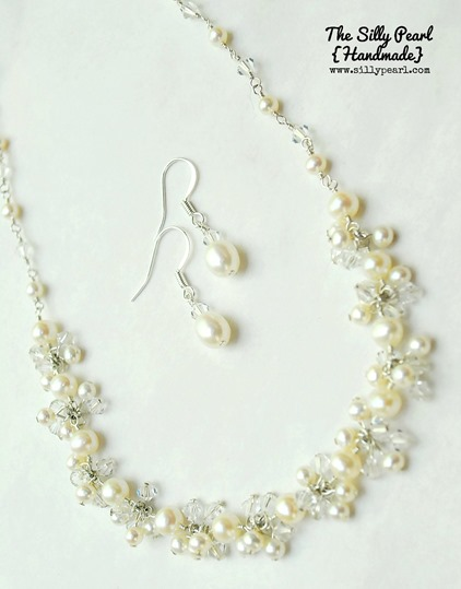 Fringe Bib Necklace Tutorial and Simple Drop Earrings made with Headpins - The Silly Pearl