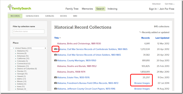 The FamilySearch.org collection list