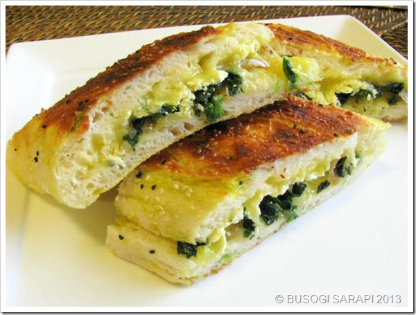 TOASTED TURKISH BREAD WITH SPINACH, FETA & MELTED CHEESE STEP22© BUSOG! SARAP! 2013