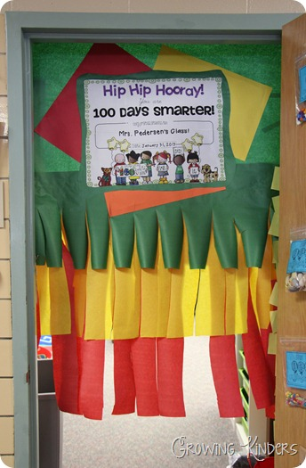 Growing kinders hip hip hooray it s the 100th day for 100th day of school decoration ideas