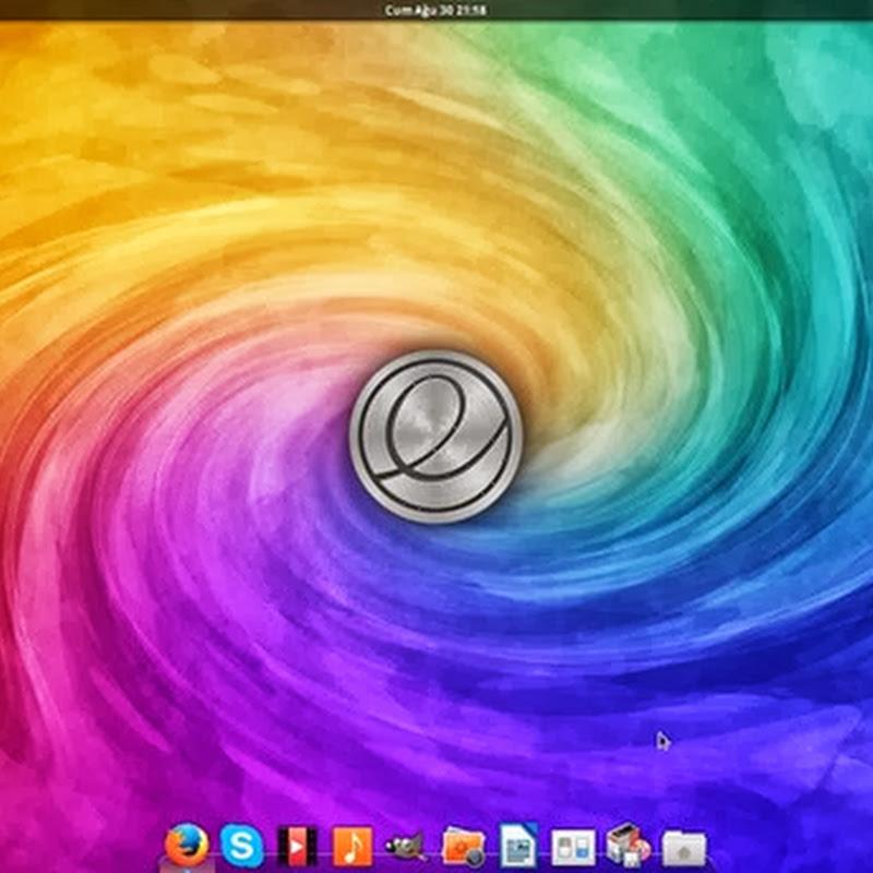 ElementaryOS Luna si presenta con un desktop pulito e una barra superiore che ricorda quella di GNOME-Shell.