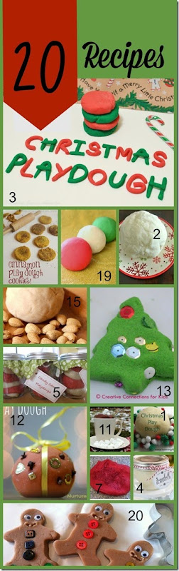 20 Christmas Playdough Recipes for Play #play #playdough #preschool #sensory #christmas #kidsactivities