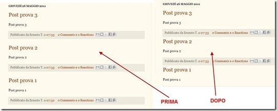 diminuire lo spazio tra i post in homepage di blogger
