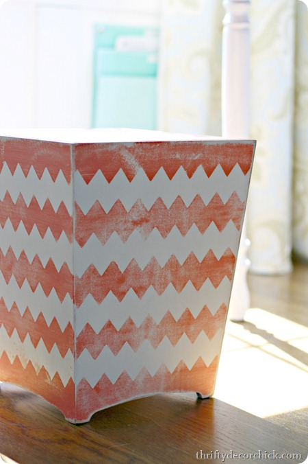 sanded-pink-white-painted-wastebasket