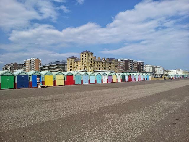 Coloured beach huts in Hove