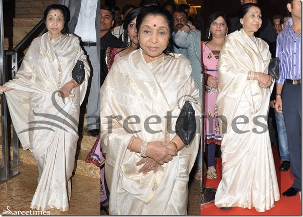 Asha_Bhosle_White_Silk_Saree