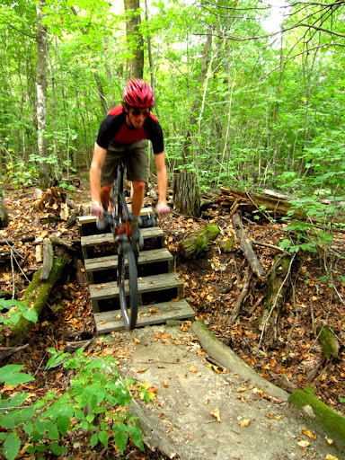Rolling over the stairs on twin lakes singletrack