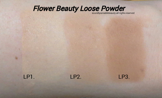 Flower Powder Up Loose Powder; Review & Swatches of Shades LO1 Light, LO2 Medium,  LO3 Deep,