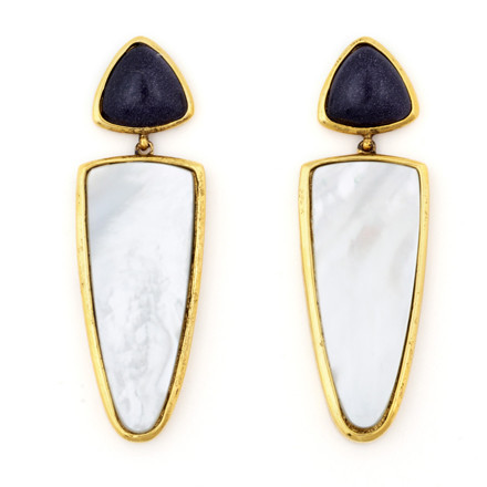 These blue goldstone and mother of pearl triangle earrings by Lizzie Fortunato are a little bit Dallas and I'm okay with that. They take a blazer and jeans to a whole new level. 