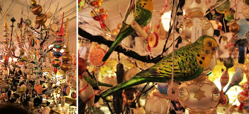 All over the store, trees were decorated by theme and ornament type. These glittered, glossy birds could be wonderful in year-round arrangements.