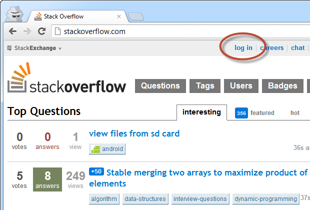 A Stack Overflow request using incognito (not logged on)