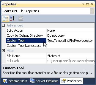 T4 Template and Custom Tool Property configuration