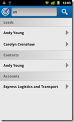 Search works across contacts, leads, accounts & opportunities
