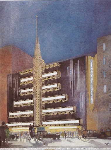 A detailed sketch of the Max Reinhardt Theatre, New York.