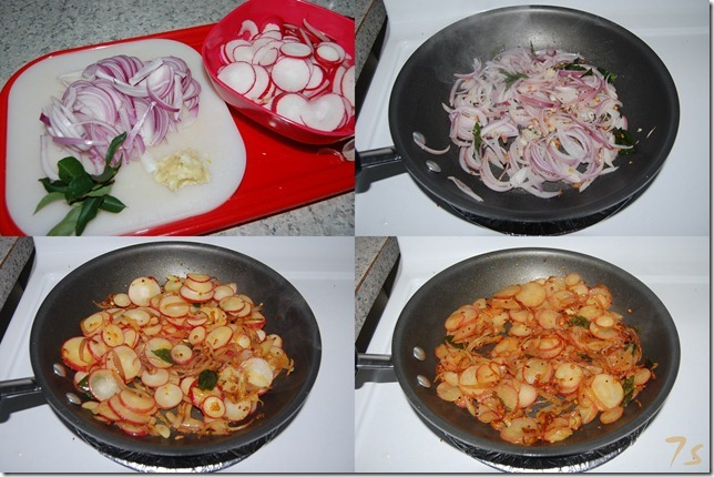 Red radish stir fry process