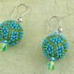 Серьги из бусин, оплетенных бисером. Голубые и зеленые.JPG