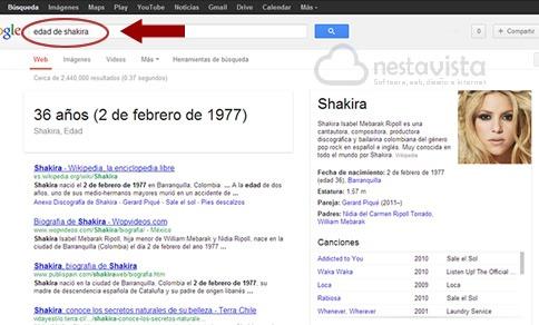 Edad de personajes en Google
