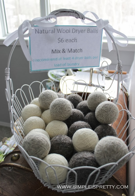 Wool Dryer Balls in basket for craft sale