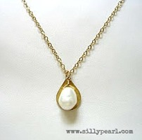 Teardrop Pearl and Gold Necklace