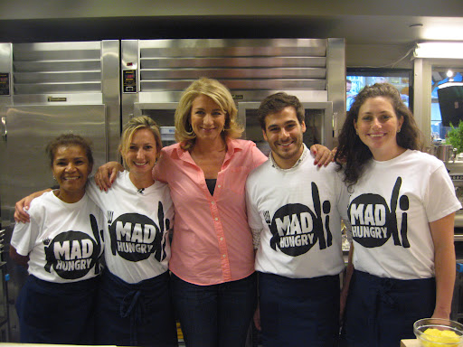 Lucinda and the Martha Stewart Show's food team in their Mad Hungry shirts