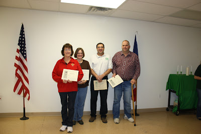 4-H Leader's being recognized for years of service were: Kathy Ebert, Barb Swailes, Doug Colbert and Jim Schneider.  Not pictured are Bob Spenner, Deidra Baker, Don Pfeiffer, Dorcas Jarrard, Erin Smith, and Laurie Pemberton.  Photo Courtesy:  Washington County Extension.