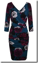 Kaliko Flower Print Ruched Dress