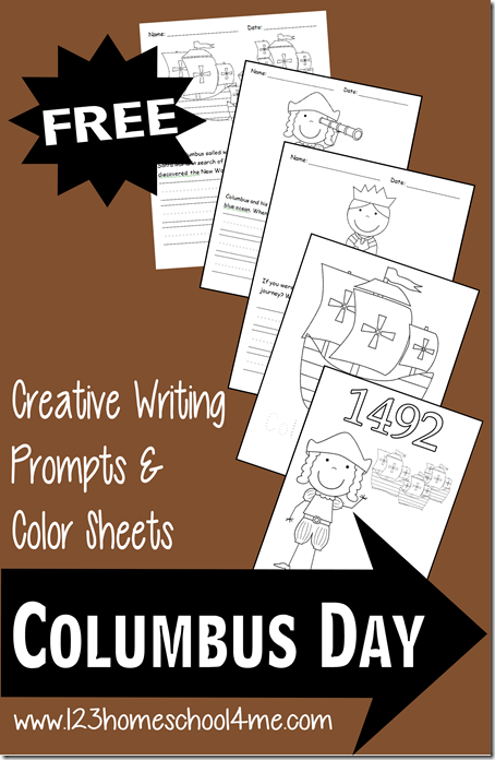 FREE Columbus Day Writing Prompts and Coloring Pages #coloringpages #writingprompts #preschool #kindergarten