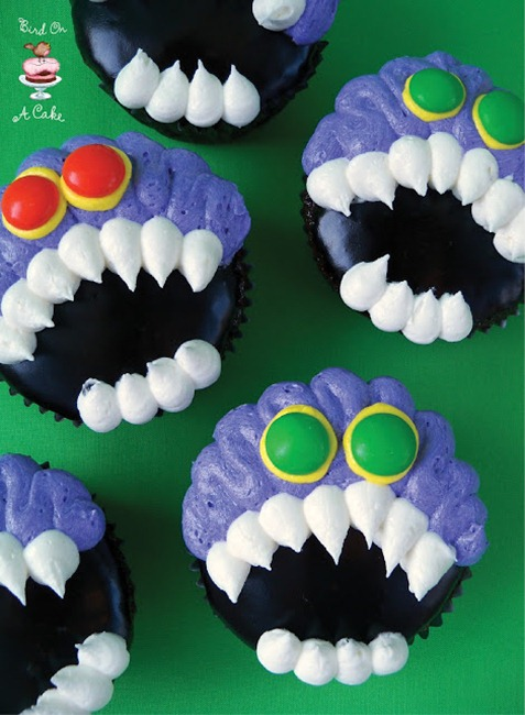 Toothy Monster Cupcakes