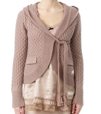 #805 Hoodly knit cardigan powder