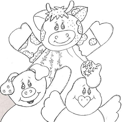 Risco-animais-vaquinha-porquinho