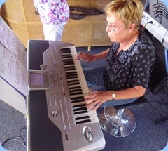 Jan Moller playing her Korg Pa1X.
