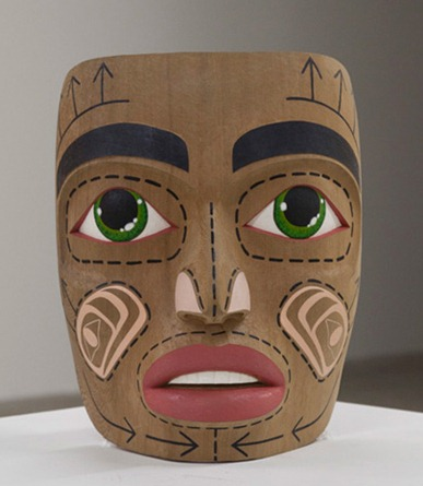 Shawn Hunt Aboriginal Artist carving wood mask art vancouver contemporary color