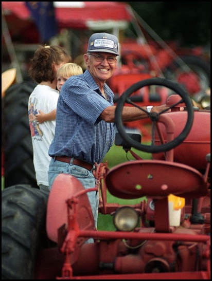 Bob Dunbar and his tractor at the Boone County 4-H Fair, July 23, 2002.