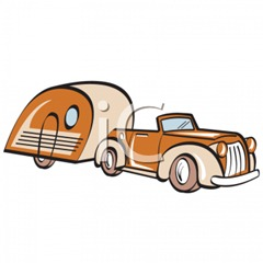 0511-1006-1813-3633_Vintage_Car_with_a_Tear_Drop_Style_Camper_clipart_image