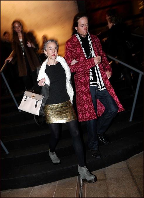c fur collar vest gold sequined skirt magenta print long coat ol