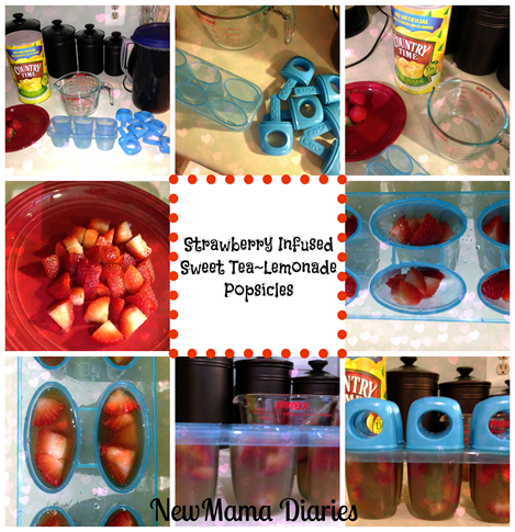 Strawberry Infused Sweet Tea~Lemonade Popsicles | NewMamaDiaries.blogspot.com