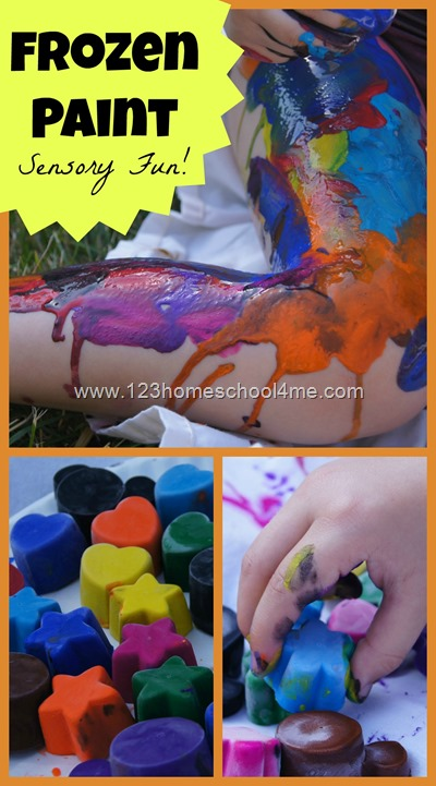 Frozen Paint Sensory Play for toddler, preschool, and elementary age kids. This is a great summer activity for kids - one you will want to add to your summer bucket list.