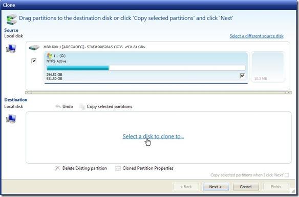 Macrium Reflect Free selezionare disco sul quale clonare altro hard disk