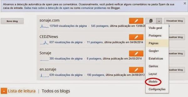 Plataforma blogger - Meus Blogs