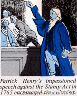 View-Master The Revolutionary War (B810), illustration: Patrick Henry's impassioined speech against the Stamp Act in 1765 encouraged the colonists.