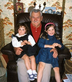 The armchair he lived in - with granddaughters Stacey & Kylie