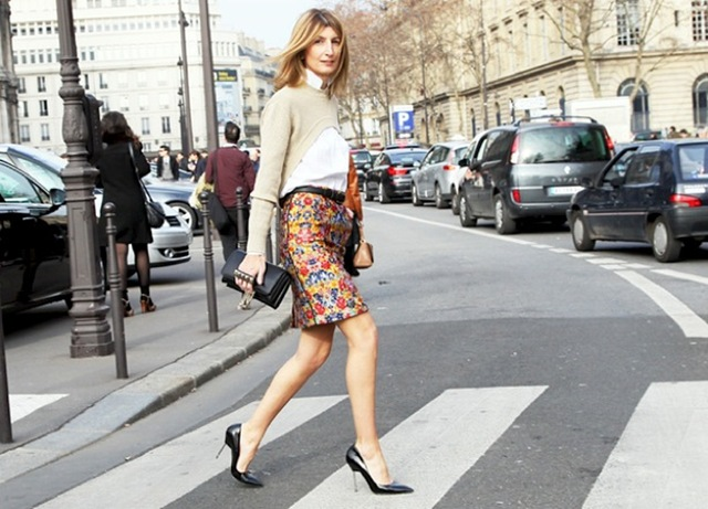 PRINT-PENCIL-SKIRT-SARAH-RUTSON-CELINE-RESORT-2012-BLACK-PUMPS-CROPPED-SWEATER-FASHION-WEEK-GRAZIA-