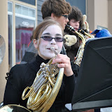Kayla Johnson joins members of the Boyne City Band in playing some spooky music