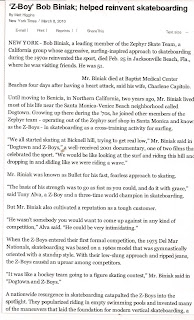 Page (1) of (2) An article on Bob in the New York Times after he passed away. R.I.P.