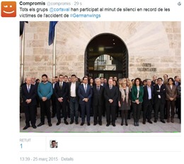 minuta de silenci catastròfa de germanwings Corts Valencians